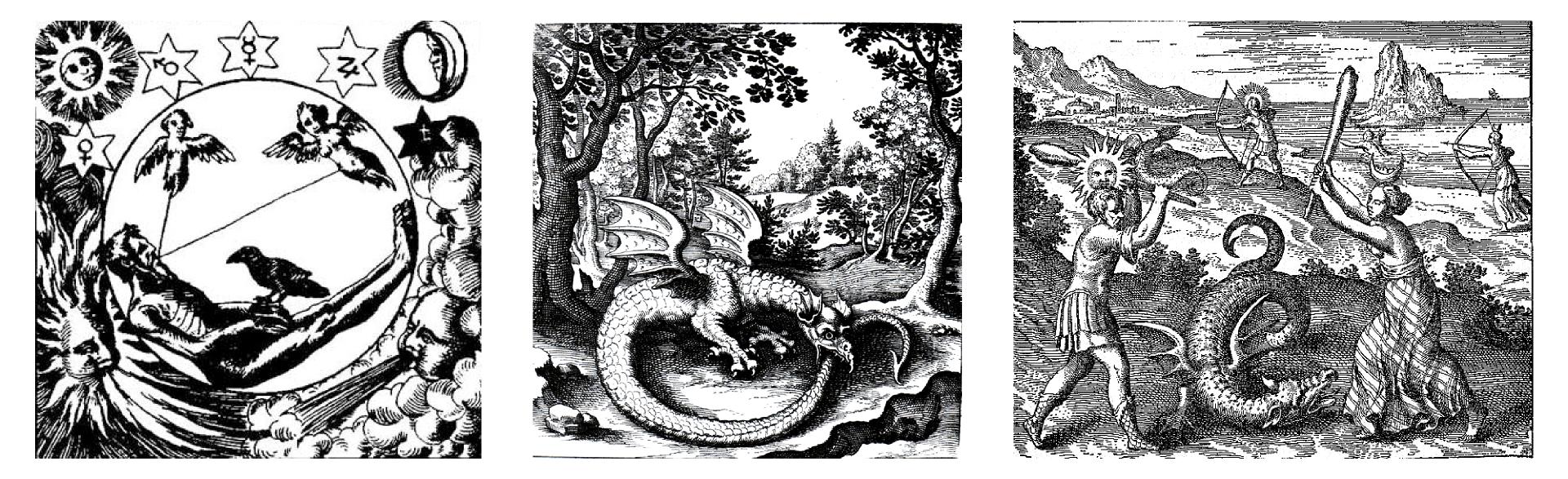 Trzy ilustracje przedstawiające symbole wiedzy tajemnej. Pierwsza od lewej to skomplikowany geometryczny układ przedstawiający postać starego człowieka wpisaną wokrąg zkrukiem siedzącym na jego dłoni idwoma aniołami unoszącymi się nad nimi. Ponad kołem wpięciu gwiazdach naniesiono symbole astrologiczne, anarożniki ilustracji zawierają słońce, księżyc, żywioły ognia ipowietrza. Druga, środkowa ilustracja to rycina przedstawiająca las ze wzgórzami wtle. Na pierwszym planie znajduje się główny temat: skrzydlaty smok pożerający swój długi ogon. Rycina ostatnia przedstawia scenę łowów na smoki wscenerii przypominającej brzeg morza. Dwie pary postaci - mężczyzna ze słońcem na głowie ikobieta zksiężycem ubrani wstarogreckie stroje na pierwszym planie zabijają smoka maczugami. Tacy sami ludzie na drugim planie podchodzą smoka uzbrojeni włuki.