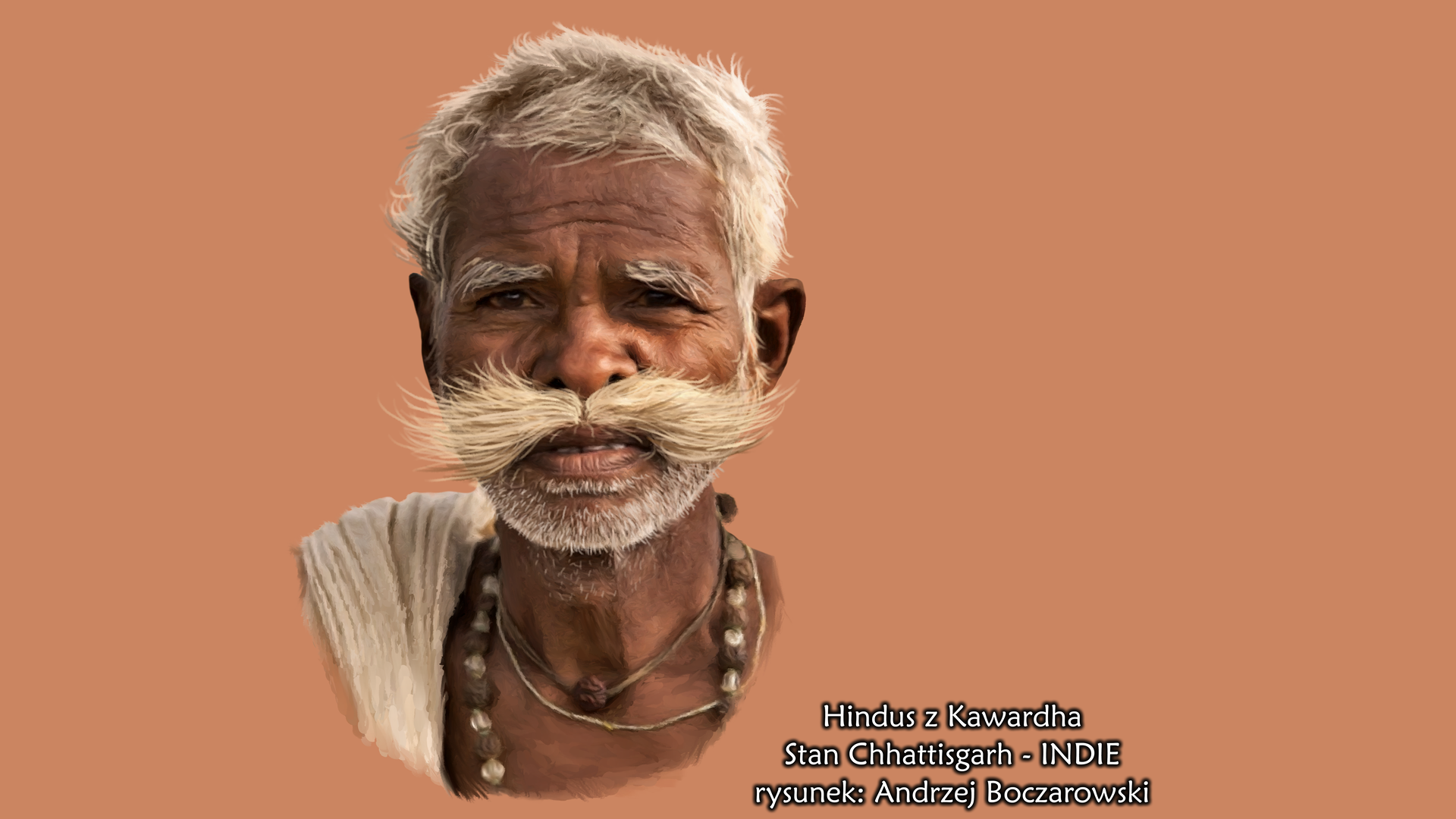 Rysunek drugi, to popiersie śniadego hinduskiego mężczyzny. Jest to starszy mężczyzna ciemnej karnacji zwysokim czołem, szerokim nosem, białymi krótkimi włosami oraz dużymi, rosnącymi na boki białymi wąsami oraz niewielkim białym zrostem na brodzie.