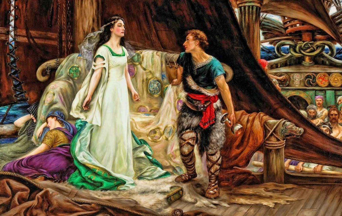 Obraz przedstawia na pierwszym planie młodą kobietę ubraną wzwiewną suknię oraz mężczyznę patrzącego na nią itrzymającego wręku kielich. Obok widać dwie leżące, śpiące kobiety. Wtle widać wiosłujących członków załogi. Na statku namalowane są liczne, celtyckie symbole.
