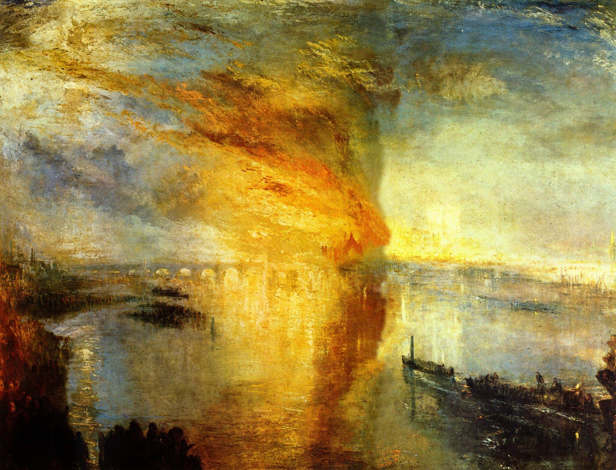 Pożar parlamentu londyńskiego Źródło: William Turner, Pożar parlamentu londyńskiego, 1835, olej na płótnie, Cleveland Museum of Art, domena publiczna.