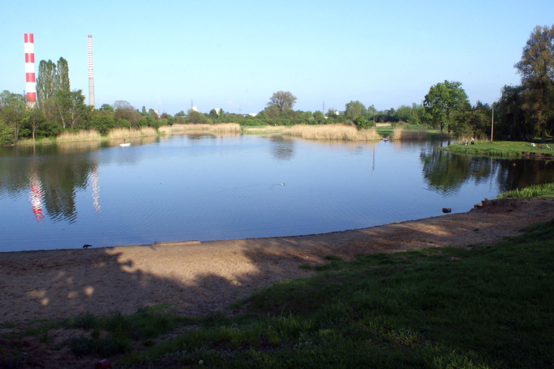 Fotografia prezentuje niewielkie jezioro Czerniakowskie, jezioro zakolowe powstałe ze starorzecza.