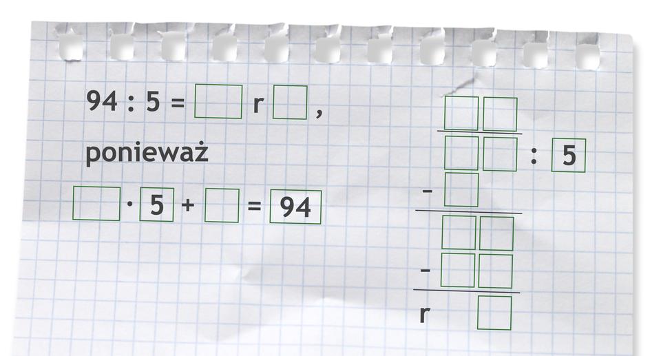 Miejsce do wykonania dzielenia: 94 dzielone przez 5.