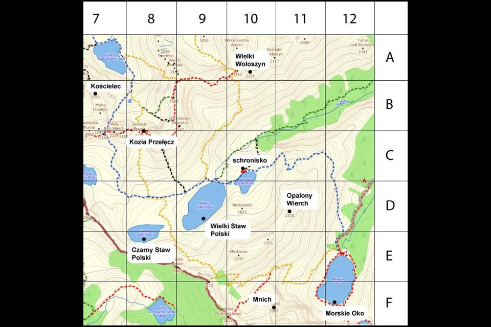 Animacja pokazuje fragment mapy Polski. Należy podać za pomocą pary uporządkowanej położenie na planie miejsc: Wielki Staw Polski, Kościelec, Opalony Wierch.