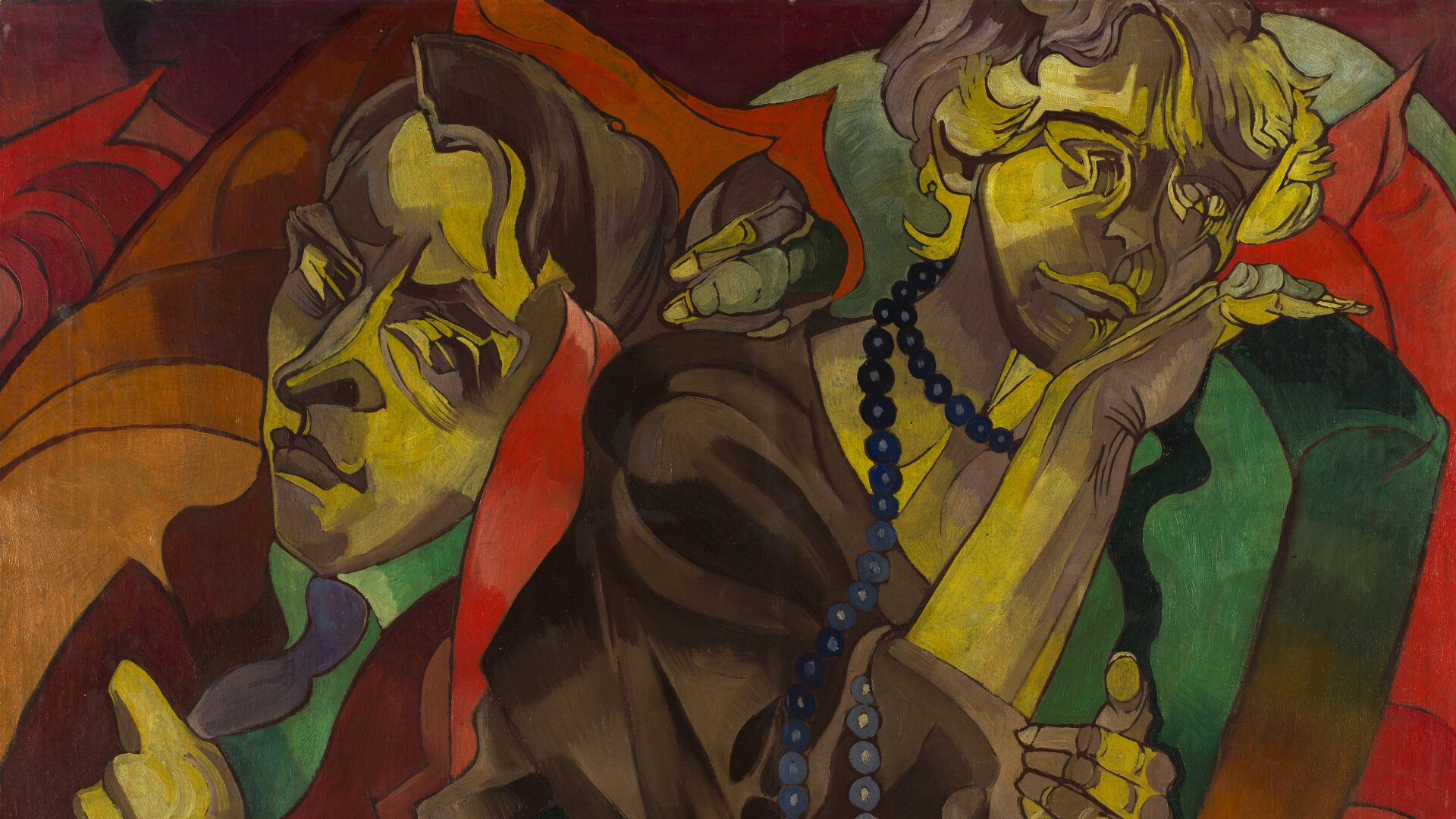 """Obraz przedstawia dwa portrety. Widać wyraźnie zaznaczone kontury, atwarze są zniekształcone. Jest podpisany """"Stanisław Ignacy Witkiewicz »Dwie głowy«""""."""