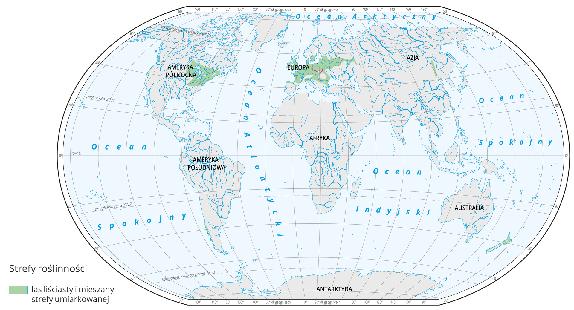 Mapa świata prezentuje występowanie lasów liściastych na Ziemi. Lasy liściaste oznaczone kolorem zielonym na mapie występują w: Północnej iŚrodkowej Europie, Środkowo - Wschodniej Ameryce Północnej.