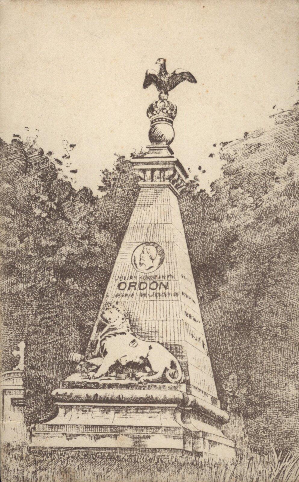 Pomnik Ordona we Lwowie Źródło: Pomnik Ordona we Lwowie, 1914–1918, pocztówka, domena publiczna.