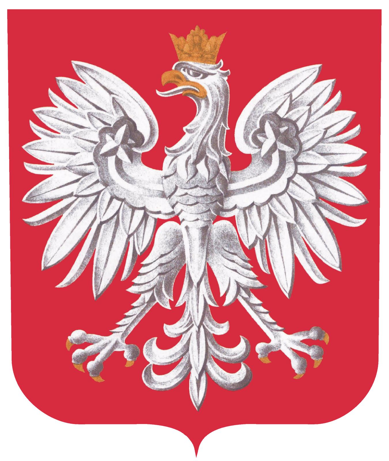 Ilustracja prezentuje godło Polski – biały orzeł zrozpostartymi skrzydłami oraz koroną na głowie umieszczony na czerwonym tle.