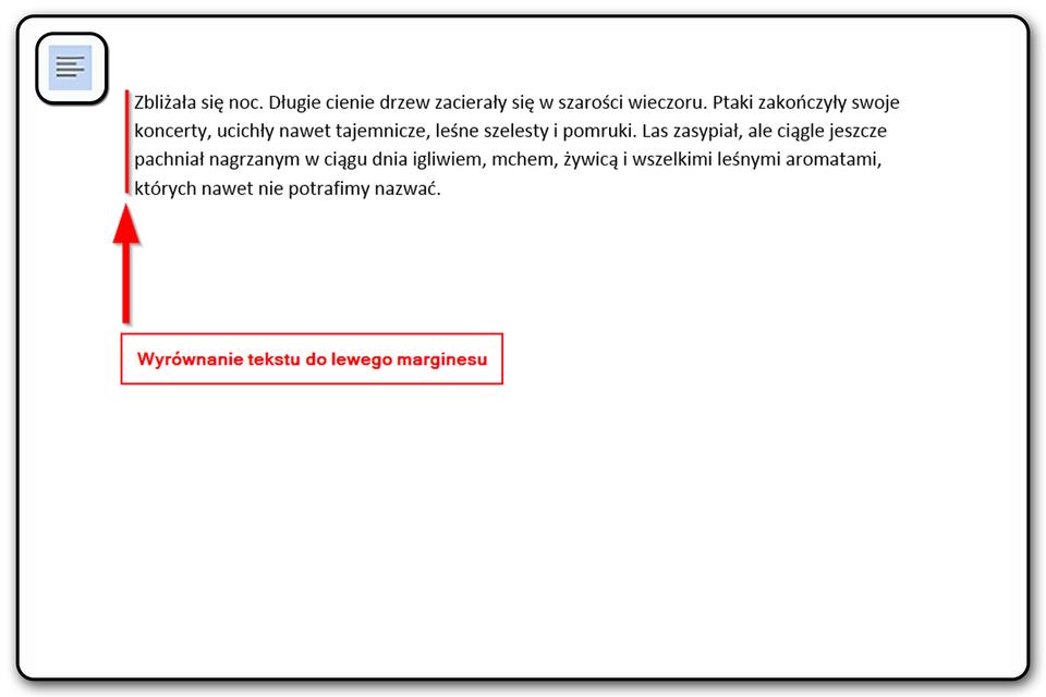 Slajd 3 galerii: Zastosowanie poszczególnych narzędzi wyrównywania tekstu