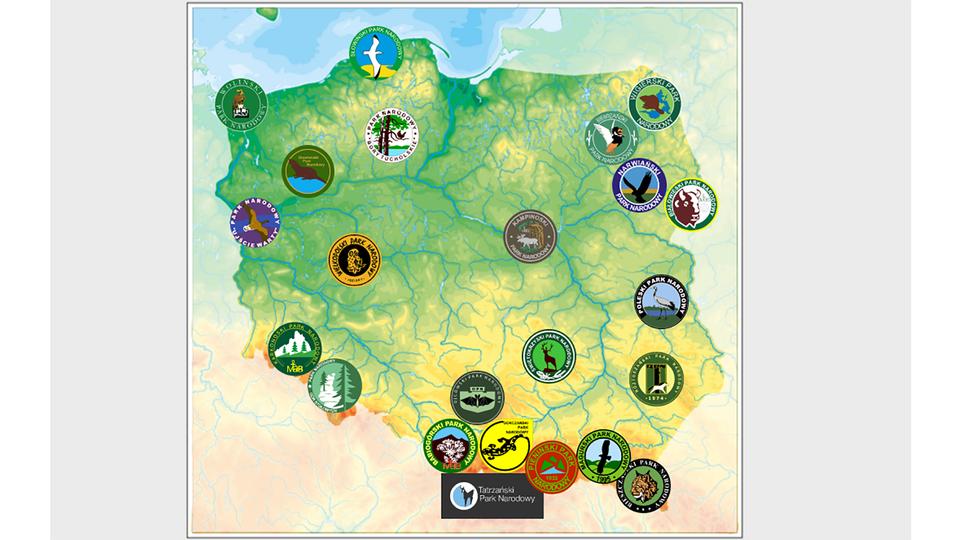 Interaktywna mapa polski zzaznaczonymi emblematami parków narodowych.