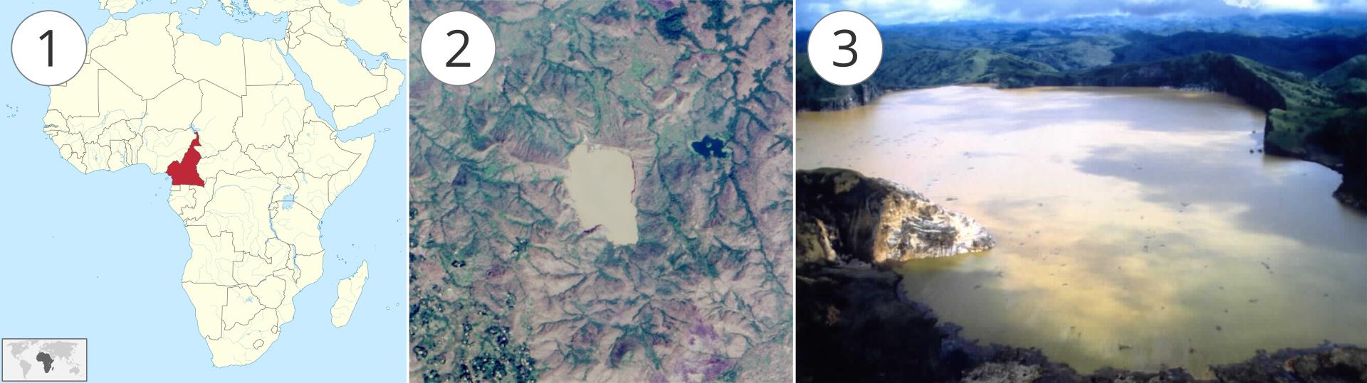 Ilustracja składa się zgrafiki idwóch sąsiadujących ze sobą fotografii, ponumerowanych kolejno od lewej do prawej strony. Na obrazku numer 1 znajduje się mapa Afryki zzaznaczonymi liniami granicznymi państw. Czerwonym kolorem wyróżniony jest Kamerun, znajdujący się wśrodkowej Afryce nad Zatoką Gwinejską, graniczący m.in. zKongiem. Zdjęcie numer dwa to fotografia satelitarna przedstawiająca wycinek górzystego terenu zdużym, beżowym obszarem wsamym centrum. Jest to jezioro Nyos uwiecznione przed katastrofą. Po prawej stronie zdjęcie numer trzy przedstawiające jezioro po katastrofie oglądane ze wzgórza lub nisko lecącego samolotu. Płaska tafla wody odbija żółtawo podświetlone przez słońce chmury, tworząc surrealistyczny obraz. Teren wokół jeziora porośnięty tropikalnym lasem.