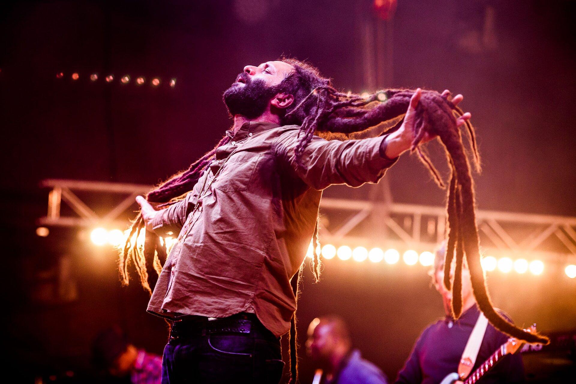 Ilustracja przedstawia koncert reggae. Widoczny jest mężczyzna zdredami,. Wtle znajduje się pozostała część zespołu.
