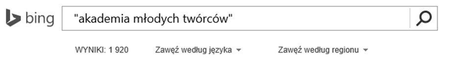 Zrzut paska wyszukiwarki Bing zwpisaną frazą