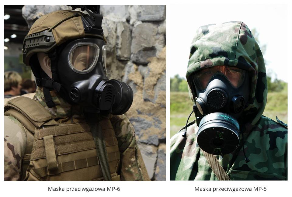 Dwa zdjęcia portretowe ułożone obok siebie. Na zdjęciu lewym maska przeciwgazowa MP-6 nałożona na głowę manekina wraz zinnymi elementami munduru wojskowego wpustynnych barwach ochronnych. Manekina ukazany zboku, obrócony wprawo. Maska ma kolor czarny, dwa otwory do patrzenia na wysokości oczu. Na wysokości ust przymocowany okrągły pochłaniacz. Między paskami maski widoczne odsłonięte ucho. Na głowie hełm. Na prawym zdjęciu osoba znałożoną maską typu MP-5 ustawiona przodem do obserwatora. Pojedynczy otwór na oczy zprzeźroczystego materiału obejmuje obszar od brwi do połowy twarzy. Nos iusta zasłonięte pochłaniaczem. Na głowie osoby kaptur wbarwach maskujących leśnych. Pochłaniacze wobu maskach mają kształt okrągłej płaskiej metalowej puszki.