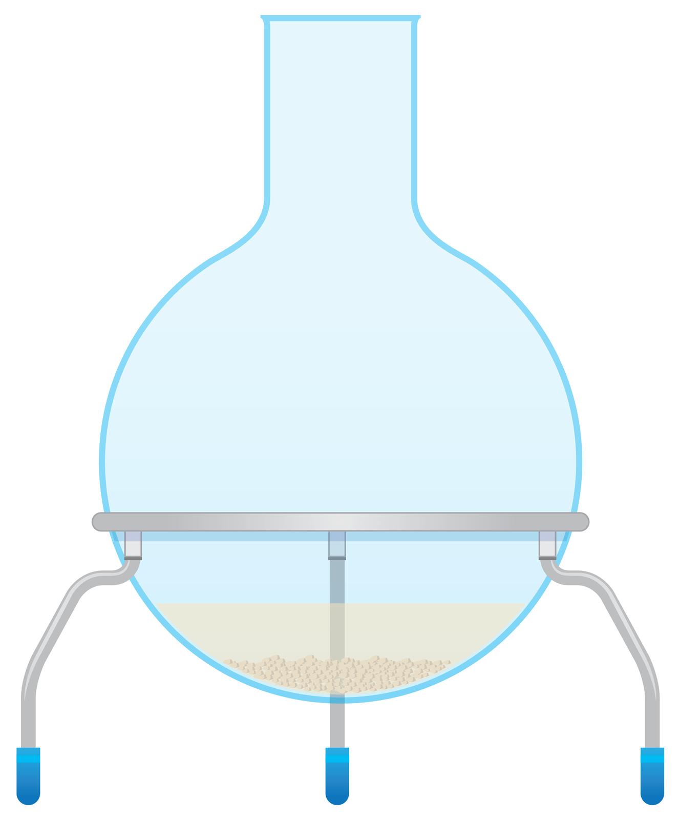 Ilustracja przedstawia rysunek kolby zkulistym dnem stojącej na trójnożnym stojaku metalowym. Wkolbie znajduje się niewielka ilość żółtawego roztworu, ana dnie wydzielone żółtawe grudki, czyli kryształki wytrąconej substancji.