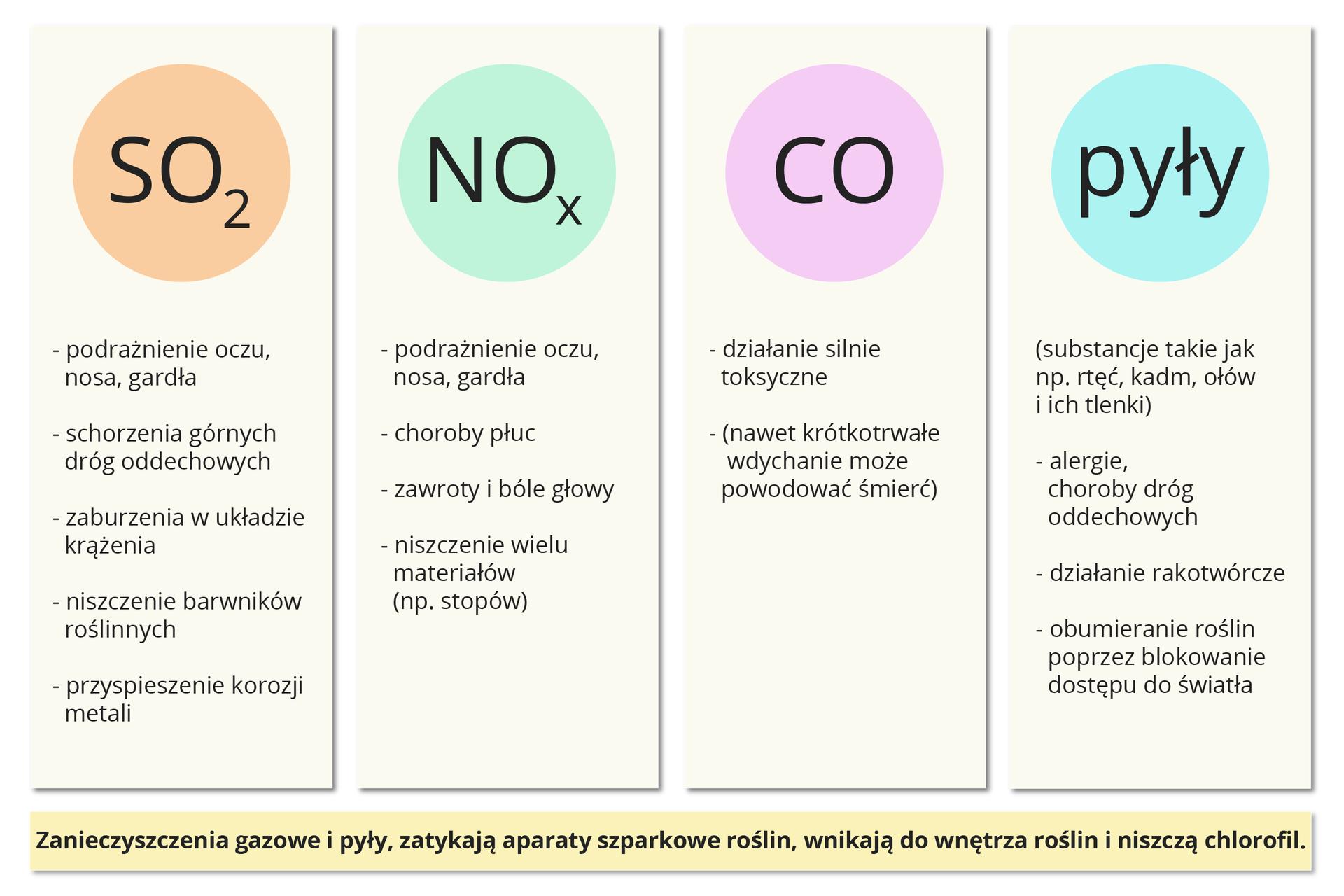 Plansza przedstawia infografikę omawiającą wybrane zanieczyszczenia powietrza. Podpis wdolnej części planszy na żółtym tle głosi: Zanieczyszczenia gazowe ipyły zatykają aparaty szparkowe roślin, wnikają do wnętrza roślin iniszczą chlorofil. Powyżej plansza podzielona jest na cztery kolumny, każdą znich rozpoczyna kolorowe koło zwzorem sumarycznym danego tlenu, grupy tlenków lub nazwą ogólną grupy zanieczyszczeń. Poniżej koła wymieniona wpunktach lista szkodliwych działań danego związku lub grupy związków. Od lewej strony są to: tlenek siarki SO2, podrażnienie oczu, nosa igardła, schorzenia górnych dróg oddechowych, zaburzenia wukładzie krążenia, niszczenie barwników roślinnych, przyspieszenie korozji metali. Tlenki azotu NOx, podrażnienie oczu, nosa igardła, choroby płuc, zawroty ibóle głowy, niszczenie wielu materiałów, na przykład stopów. Tlenek węgla CO, działanie silnie toksyczne, nawet krótkotrwałe wdychanie może powodować śmierć. Ostatnia kolumna to pyły, substancje takie jak np. rtęć, kadm, ołów iich tlenki. Powodują alergie, choroby dróg oddechowych, mają działanie rakotwórcze, powodują obumieranie roślin poprzez blokowanie dostępu do światła.