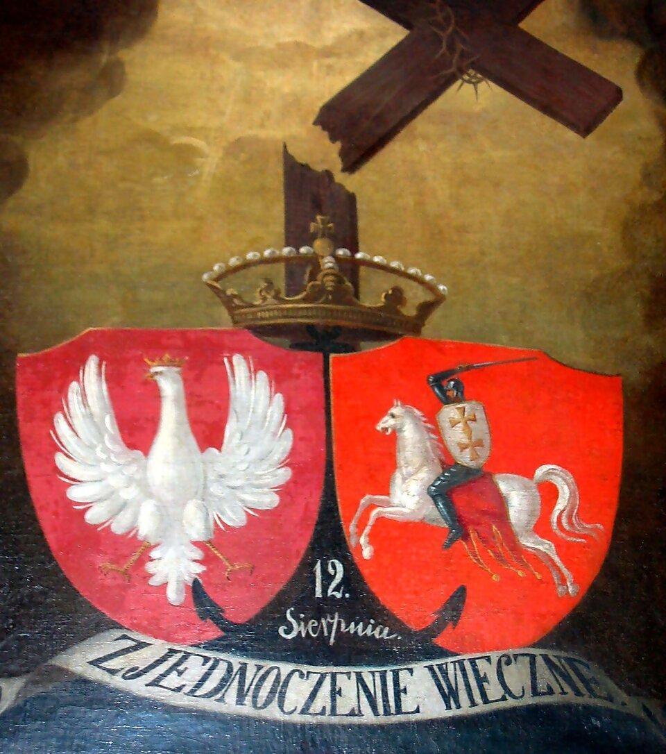 Herby Polski (z lewej) iLitwy (z prawej) na obrazie upamiętniającym zawarcie unii polsko-litewskiej wKrewie Herby Polski (z lewej) iLitwy (z prawej) na obrazie upamiętniającym zawarcie unii polsko-litewskiej wKrewie Źródło: domena publiczna.