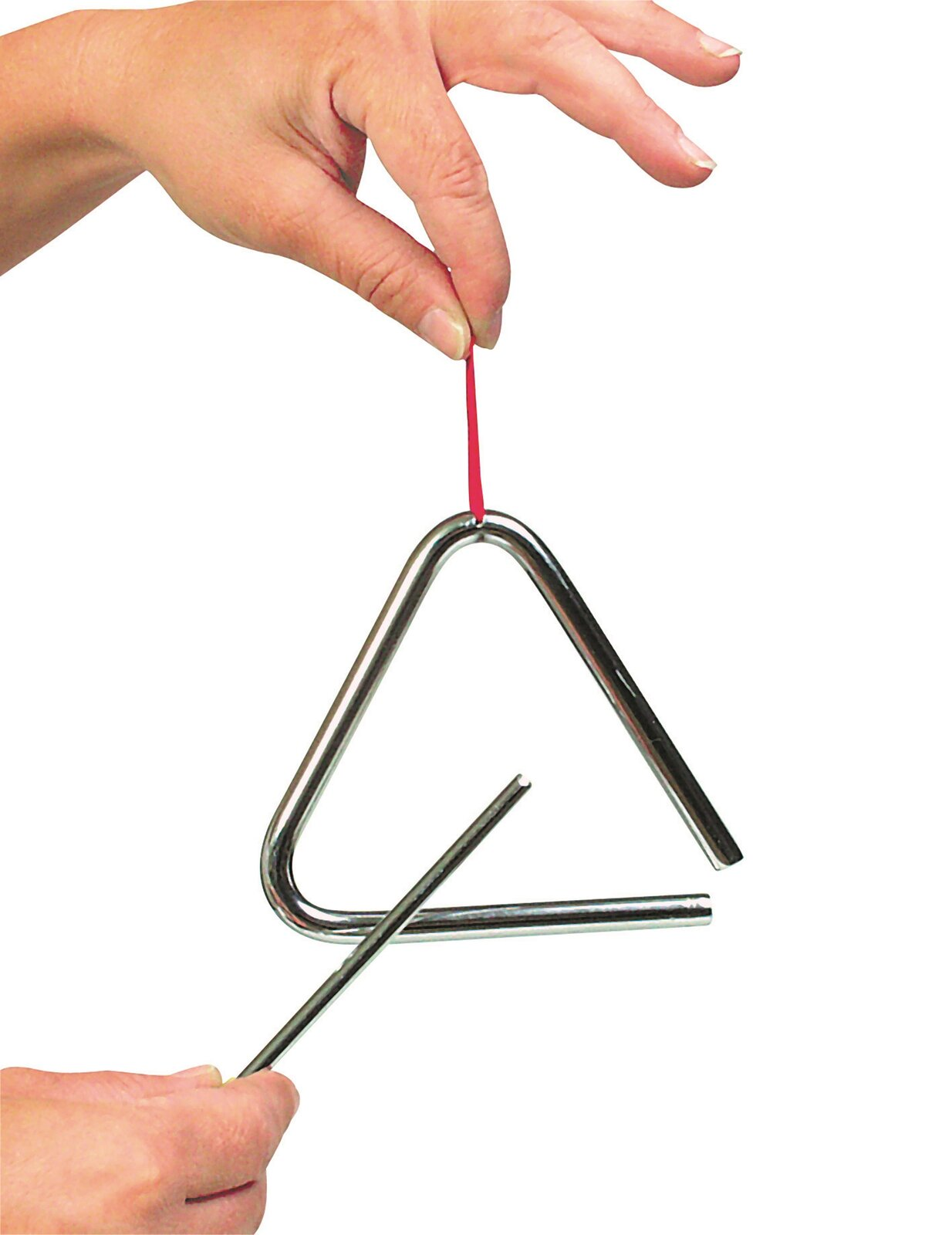 Ilustracja przedstawia trójkąt jest to instrument muzyczny, perkusyjny zgrupy idiofonów onieokreślonej wysokości dźwięku. Trójkąt wykonany jest zmetalowego pręta wygiętego wtrójkątny kształt. Gra na nim polega na uderzaniu metalową pałeczką wktórąkolwiek część trójkąta, najczęściej wpoziomy pręt. Wydaje on dźwięczny, wysoki, metaliczny ton.