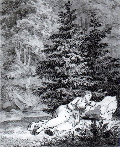 Romantyczna czytelniczka Źródło: Caspar David Friedrich, Romantyczna czytelniczka, 1801, Kupferstichkabinett, Drezno, domena publiczna.