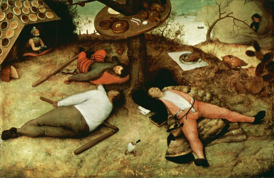 Kraina pasibrzuchów Źródło: Pieter Bruegel Starszy, Kraina pasibrzuchów, 1567, Alte Pinakothek, Monachium, domena publiczna.