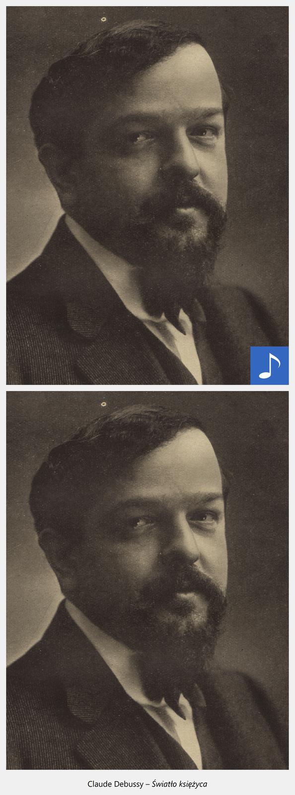Ilustracja interaktywna przedstawiająca mężczyznę wgarniturze ibiałej koszuli. Mężczyzna ma ciemnie krótkie włosy oraz wąsy ibrodę. Po kliknięciu kursorem myszy na grafikę zostanie wyświetlona informacja dodatkowa oraz odtworzony spokojny utwór muzyczny. Dodatkowe informacje: