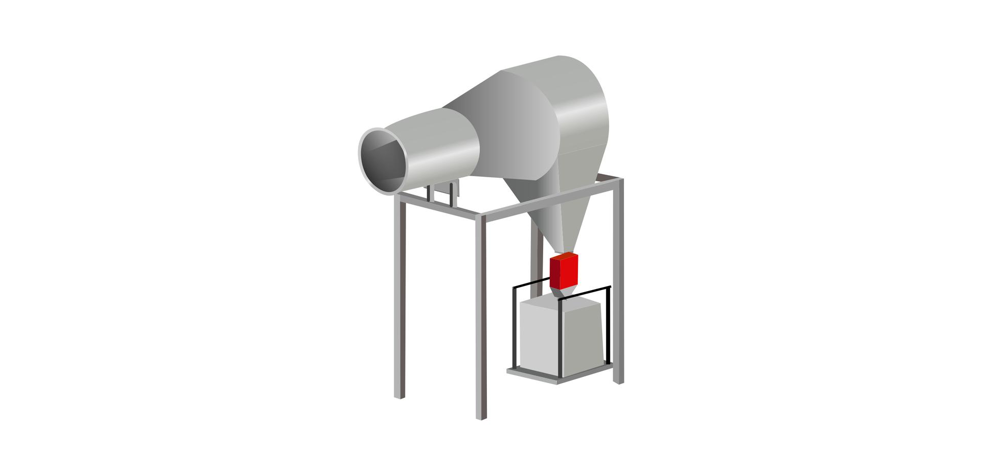 Ilustracja przedstawia filtr cyklonowy poziomy.