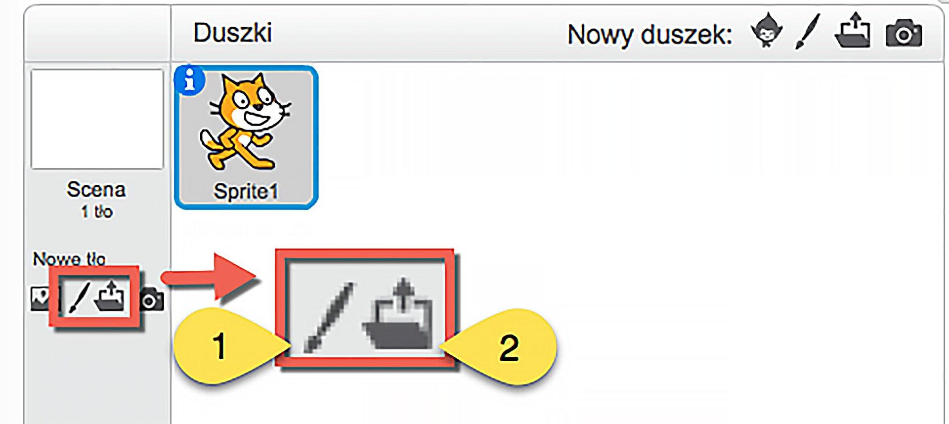 Zrzut obszaru zarządzania sceną zzaznaczoną ikoną: Namaluj nowe tło oraz ikoną: Wczytaj zgotowego pliku