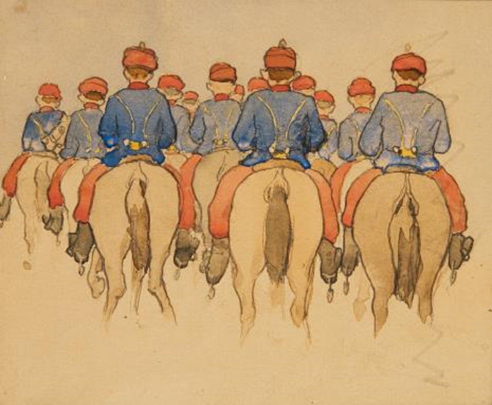 """Ilustracja przedstawia obraz """"Escadron Schritt"""" autorstwa Artura Grottgera. Wcentrum akwareli, na beżowym tle papieru, znajduje się grupa jeźdźców na koniach. Żołnierze ukazani są tyłem. Artysta namalował jedynie ich plecy oraz zady koni, na których siedzą. Wszyscy mężczyźni ubrani są wtakie same niebieskie kurtki, czerwone spodnie iczapki. Ustawieni są wkilku rzędach. Kompozycja akwareli jest zamknięta, centralna – najważniejsze jej elementy znalazły się wcentrum obrazu."""