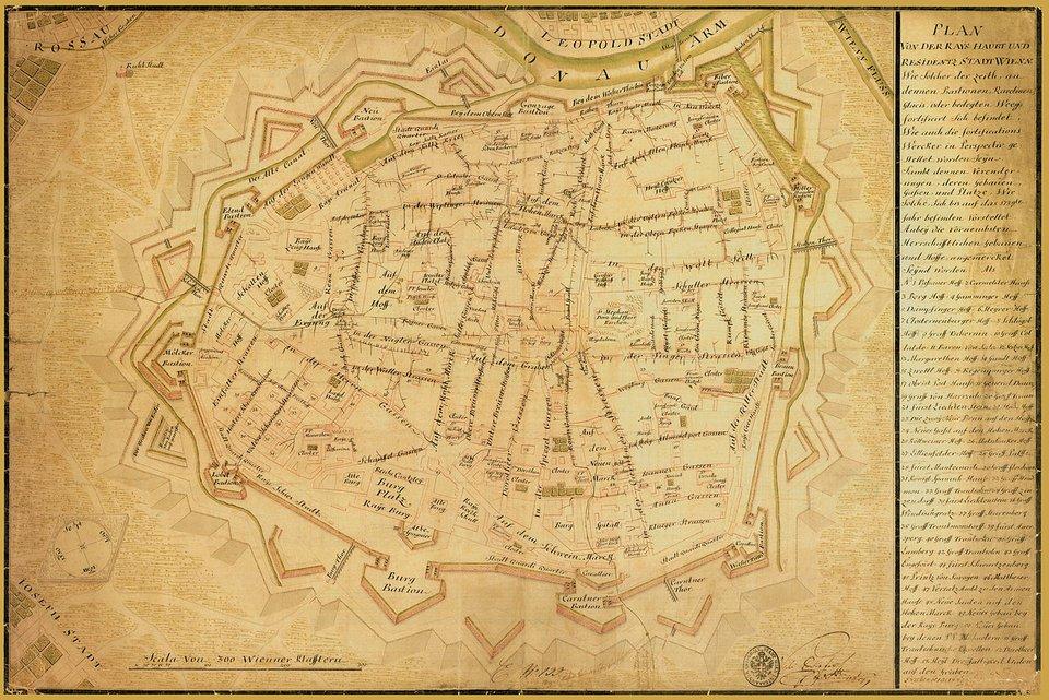PlanWiednia z1739 r. zistniejącymi fortyfikacjami oraz ważniejszymi pałacami ibudynkami publicznymi, siecią kanałów iścieków podziemnych odprowadzających nieczystości zmiasta. Już wówczas władze miejskie dbały opoprawę stanu sanitarnego wewnątrz miasta. PlanWiednia z1739 r. zistniejącymi fortyfikacjami oraz ważniejszymi pałacami ibudynkami publicznymi, siecią kanałów iścieków podziemnych odprowadzających nieczystości zmiasta. Już wówczas władze miejskie dbały opoprawę stanu sanitarnego wewnątrz miasta. Źródło: 1739, domena publiczna.