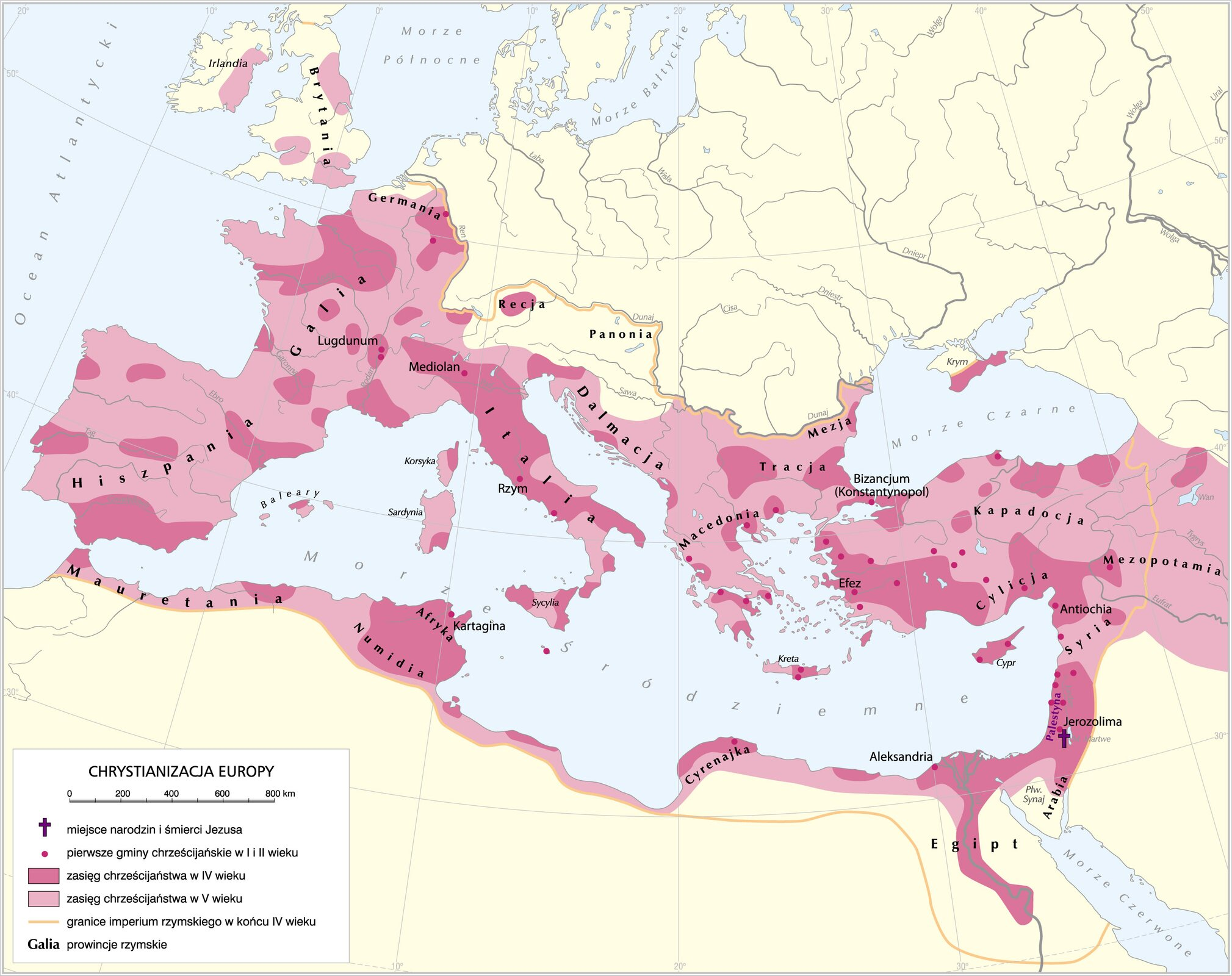 Rozprzestrzenianie się chrześcijaństwa od IdoVwieku Rozprzestrzenianie się chrześcijaństwa od IdoVwieku Źródło: Krystian Chariza izespół, licencja: CC BY 3.0.