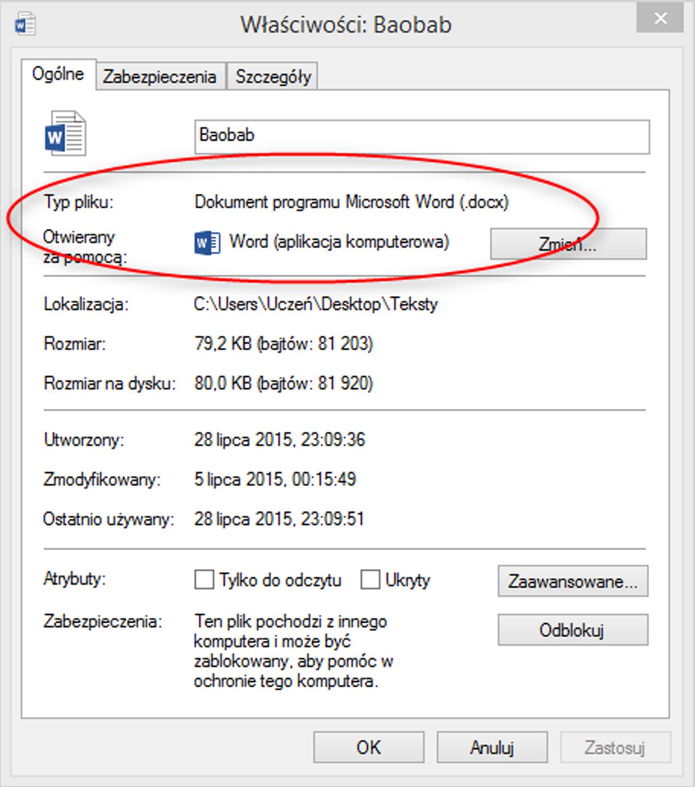 Zrzut okna: Właściwości wprogramie MS Word