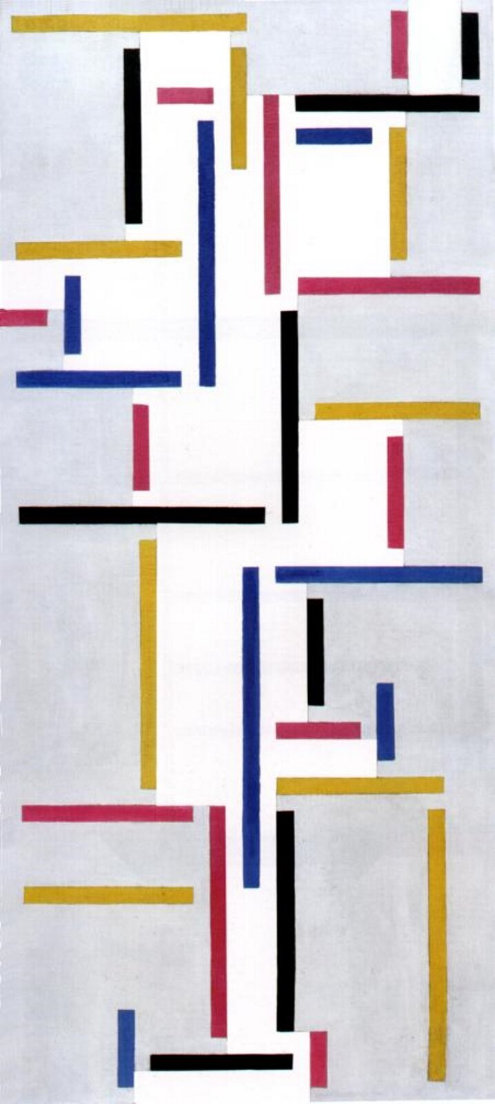 """Ilustracja przedstawia obraz Theo van Doesburga pt. """"Rosyjski taniec"""". Ukazuje on kolorowe pionowe ipoziome prostokąty. Tworzą one labirynt."""