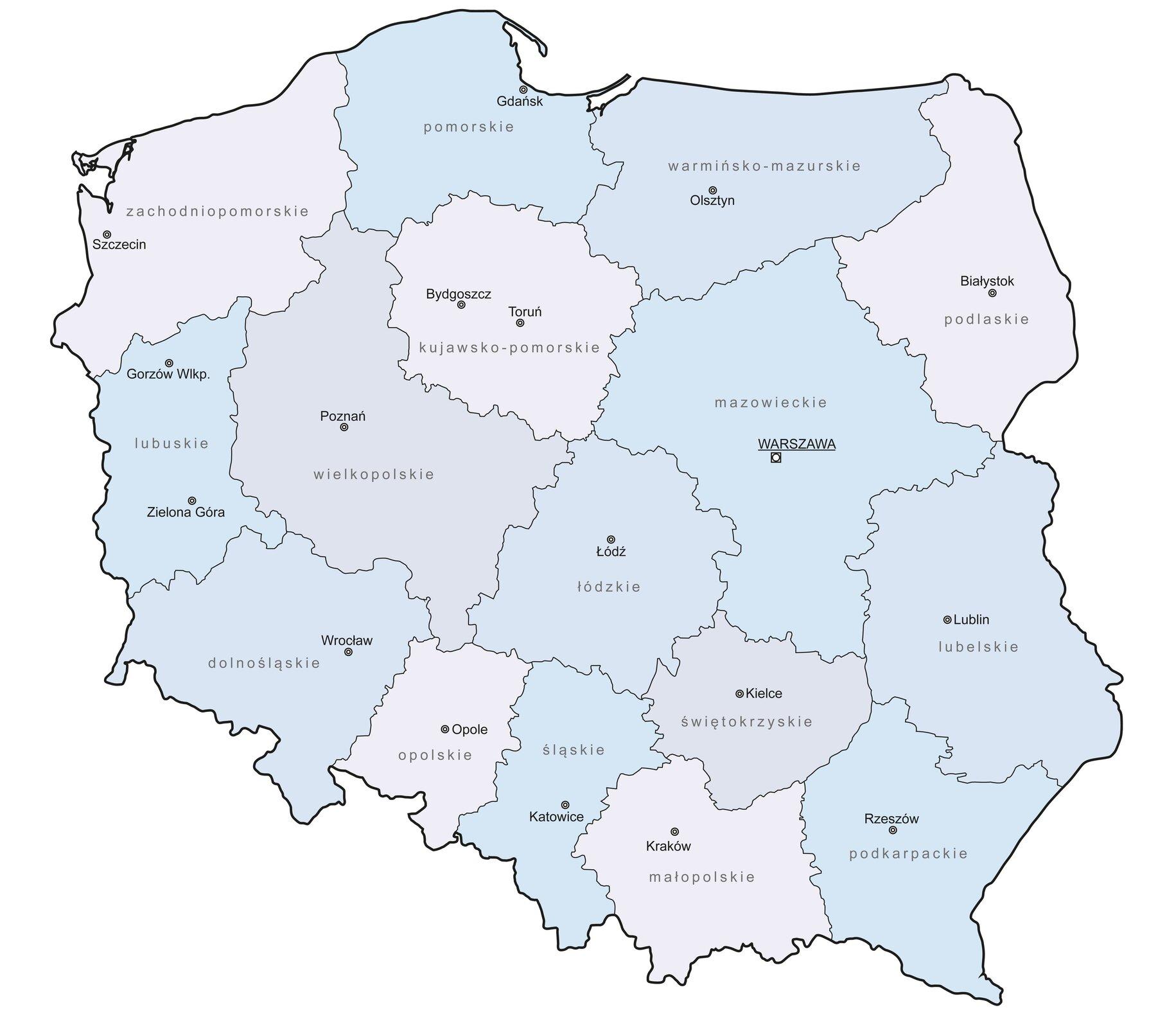 Ilustracja przedstawia mapę administracyjną Polski. Każde województwo zaznaczone jest innym kolorem. Zaznaczone są również stolice poszczególnych województw.