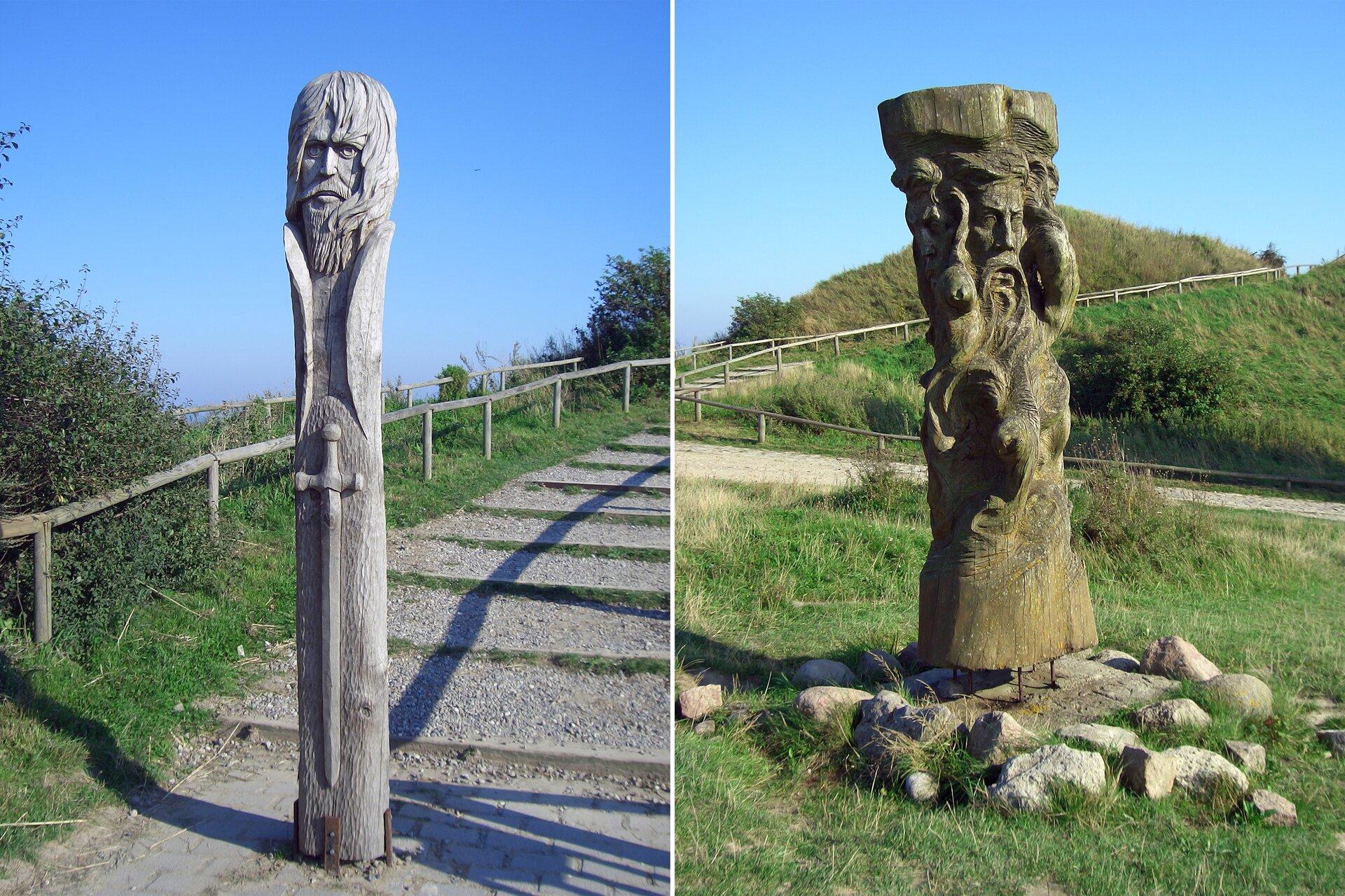 Drewniane rzeźby stojące na wyspie Arkona Drewniane rzeźby stojące na wyspie Arkona Źródło: 2006, licencja: CC BY-SA 3.0.