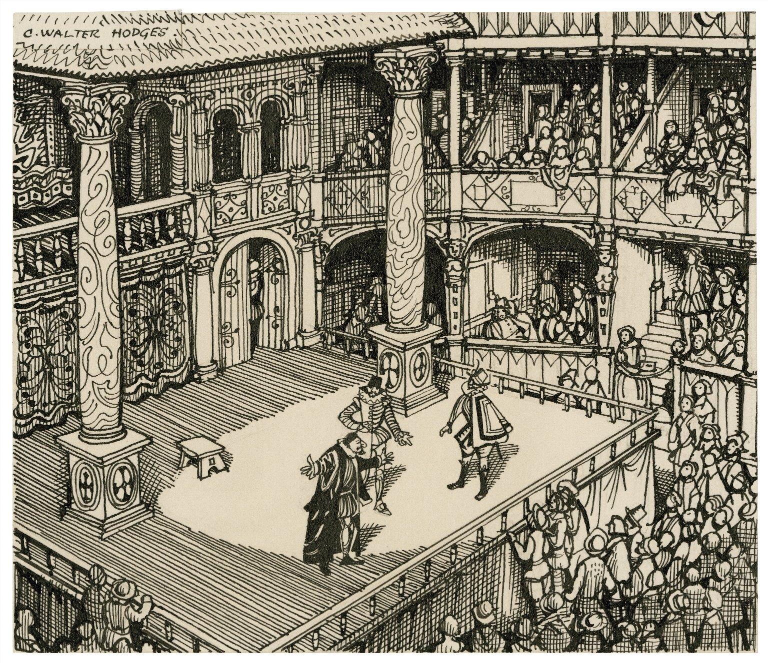 Scena Teatru Globe Scena Teatru Globe Źródło: C. Walter Hodges, Scena Teatru Globe, ok. 1953, rysunek, licencja: CC BY-SA 4.0.