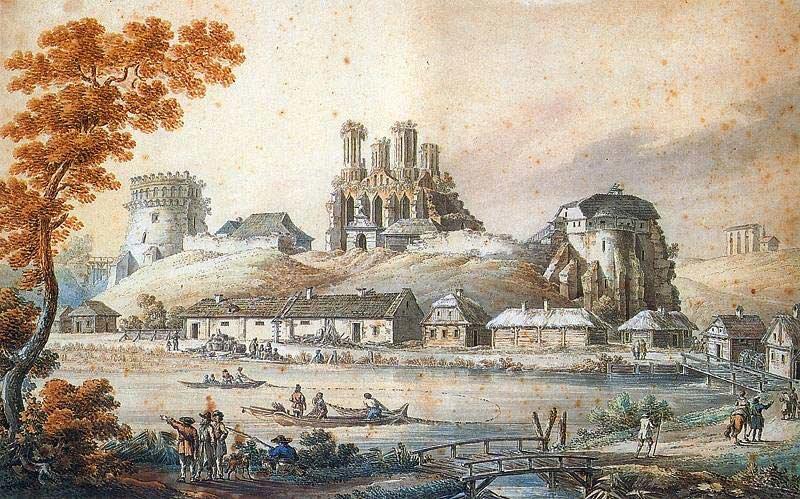 Zamek wOstrogu Źródło: Zygmunt Vogel, Zamek wOstrogu , 1796, Muzeum Narodowe wWarszawie, domena publiczna.