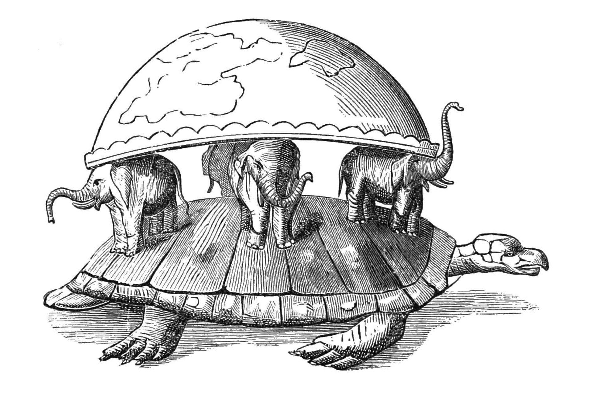 Galeria składająca się ztrzech ilustracji. Pierwsza ilustracja przedstawia dawne wyobrażenie kształtu Ziemi. Podstawą biało-czarnego rysunku jest duży żółw ogłowie skierowanej wprawo. Na skorupie żółwia znajdują się cztery słonie, które stoją wrównych odstępach od siebie. Układ słoni wskazuje główne kierunki świata. Słoń po prawej to wschód, po lewej to zachód. Słoń wśrodku to południe, aten ztyłu to północ. Ustawienie słoni przypomina również układ na tarczy zegara. Słonie stoją odpowiednio na dwunastej, trzeciej, szóstej idziewiątej. Ich trąby skierowane są wgórę. Słonie podtrzymują spłaszczoną Ziemię, podobną do zaokrąglonej misy, przykrytej płaską pokrywą, odwróconej do góry dnem. Na ich grzbietach umieszczona jest płaska podstawa Ziemi – pokrywa. Od podstawy rozpościera się kopuła – misa. Na okrągłej kopule widoczne są kontury kontynentów.