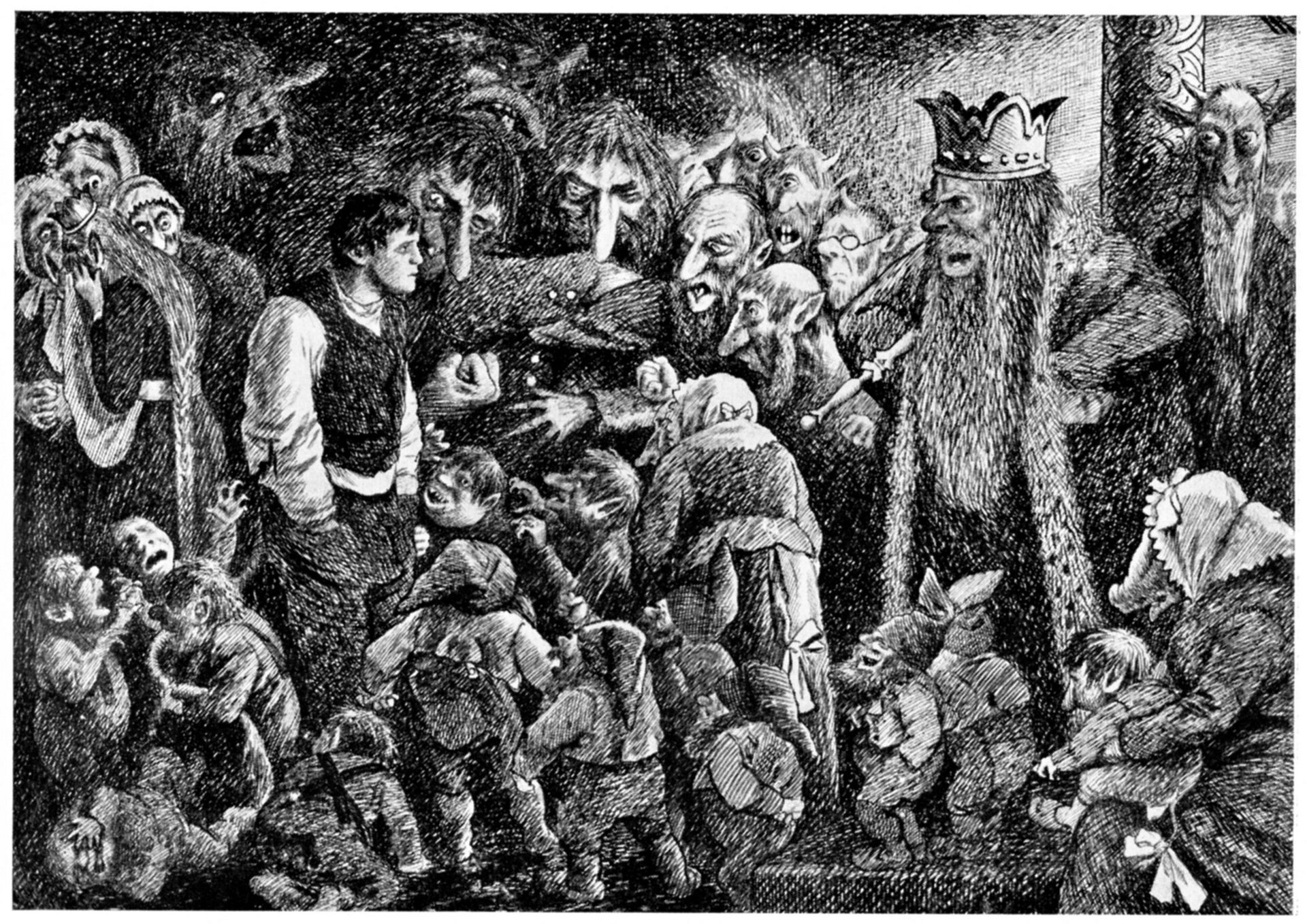 """lustracja przedstawia rysunek """"Peer Gynt uKróla Wzgórz"""" autorstwa Teodora Severyna Kittelsena. Widoczne są zniekształcone postacie zcharakterystycznymi długi nosami. Otaczają one człowieka Peer Gynta."""
