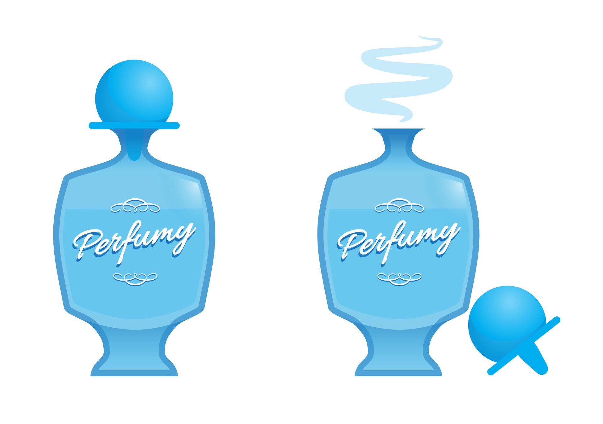 Ilustracja zawiera dwa rysunki przedstawiające ten sam elegancki, niebieski flakon, zwykaligrafowanym słowem Perfumy. Na rysunku zlewej strony flakon stoi zakorkowany. Na rysunku zprawej strony flakon jest odkorkowany, akorek leży obok niego. Zotwartego flakonu unoszą się opary perfum.