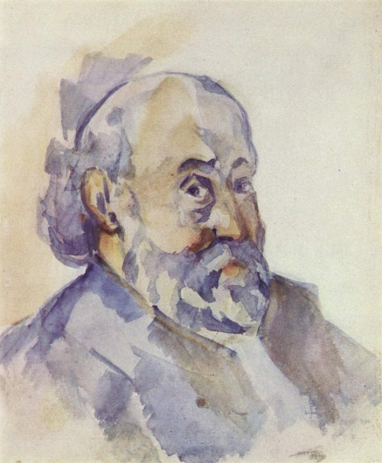 """Ilustracja przedstawia akwarelę """"Autoportret"""" autorstwa Paula Cézannea. Na obrazie znajduje się delikatnie namalowane popiersie starszego mężczyzny zbrodą. Ujęta zpółprofilu postać spogląda wkierunku widza. Utrzymany wtonacji niebiesko-szarej zelementami żółto-pomarańczowej karnacji itła portret, namalowany jest lekko, swobodnymi pociągnięciami pędzla."""