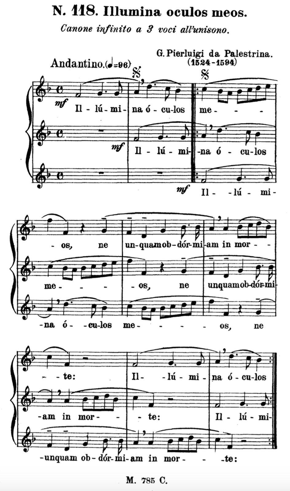 """Ilustracja przedstawia zapis nut utworu kanon """"Illumina oculos meos"""", autorstwa: Giovanni Pierluigi da Palestrina."""