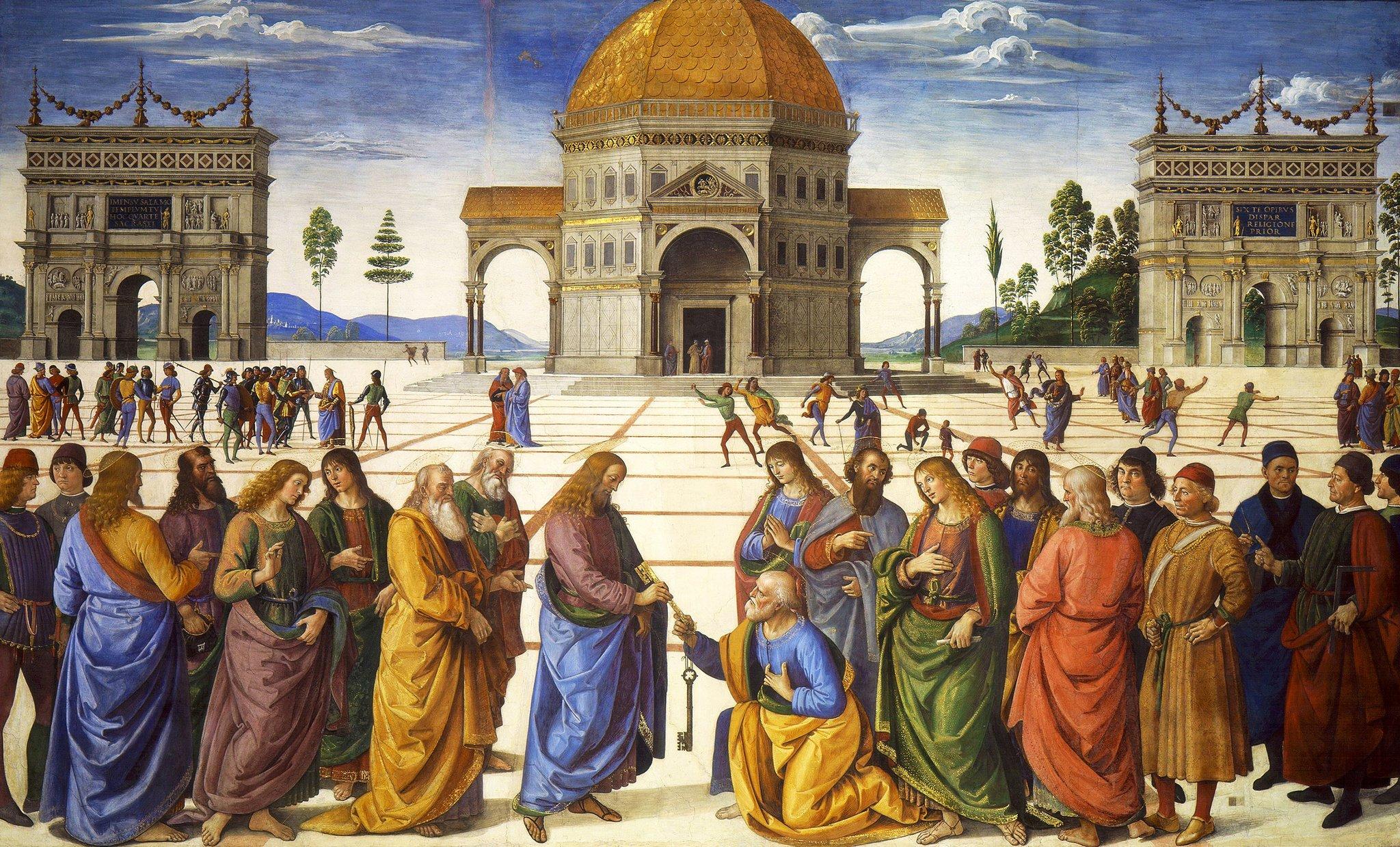 Wręczenie kluczy św. Piotrowi Źródło: Pietro Perugino, Wręczenie kluczy św. Piotrowi, 1481–1482, fesk, Kaplica Sykstyńska wWatykanie, domena publiczna.