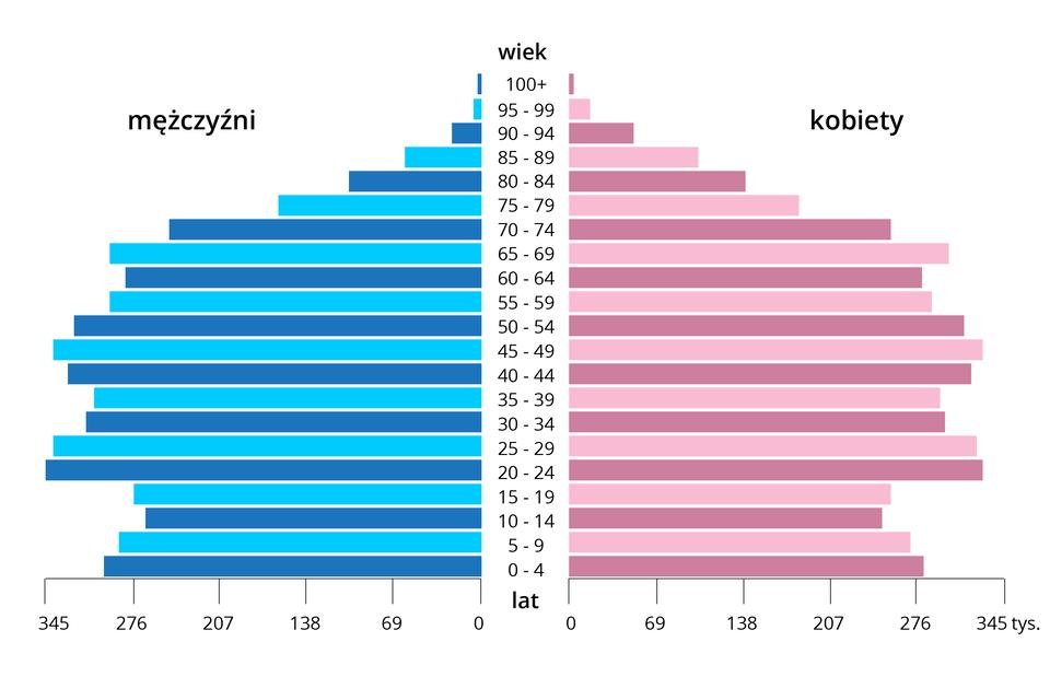 Wykres przedstawiający piramidę wieku społeczeństwa starzejącego się. Zlewej strony podziałki liczbowej określającej pięcioletnie przedziały wiekowe zestawiono słupki niebieskie dla mężczyzn, zprawej strony – różowe dla kobiet. Kształt piramidy wskazuje na typ struktury wiekowej społeczeństwa starzejącego się. Jest regresywny, ze stosunkowo niską liczbą urodzeń ipodobną liczbą zgonów oraz coraz bardziej starzejącą się ludnością. Piramida ma kształt grzyba.