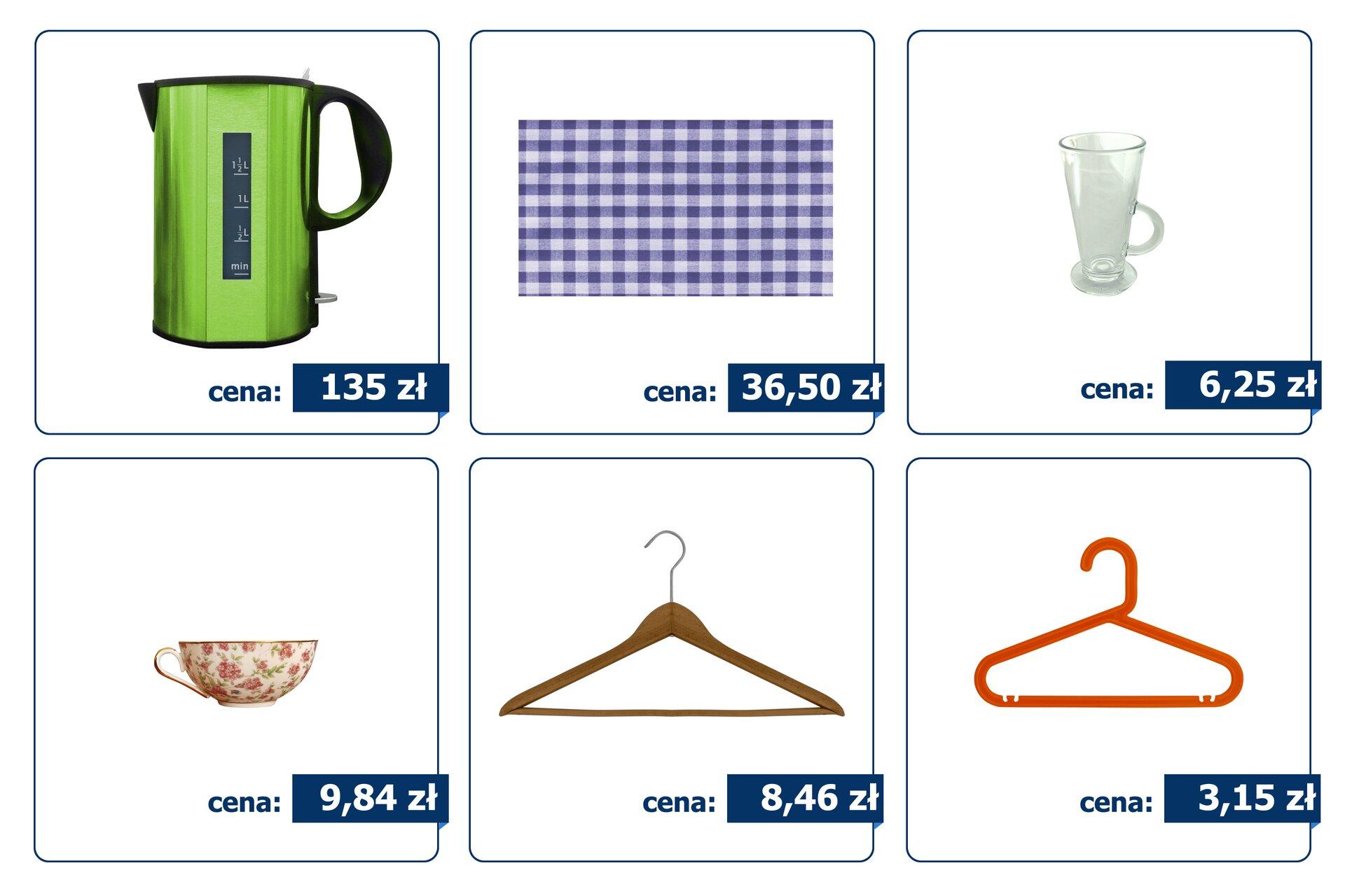Rysunki sześciu artykułów gospodarstwa domowego, które kosztują: czajnik elektryczny - 135 zł, obrus – 36,50 zł, szklanka – 6,25 zł, filiżanka do kawy – 9,84 zł, drewniany wieszak – 8,46 zł iplastikowy wieszak – 3,15 zł.