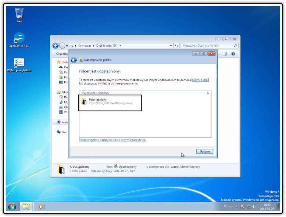 Slajd 6 galerii zrzutów okien: Udostępnianie zasobów wsystemie Windows