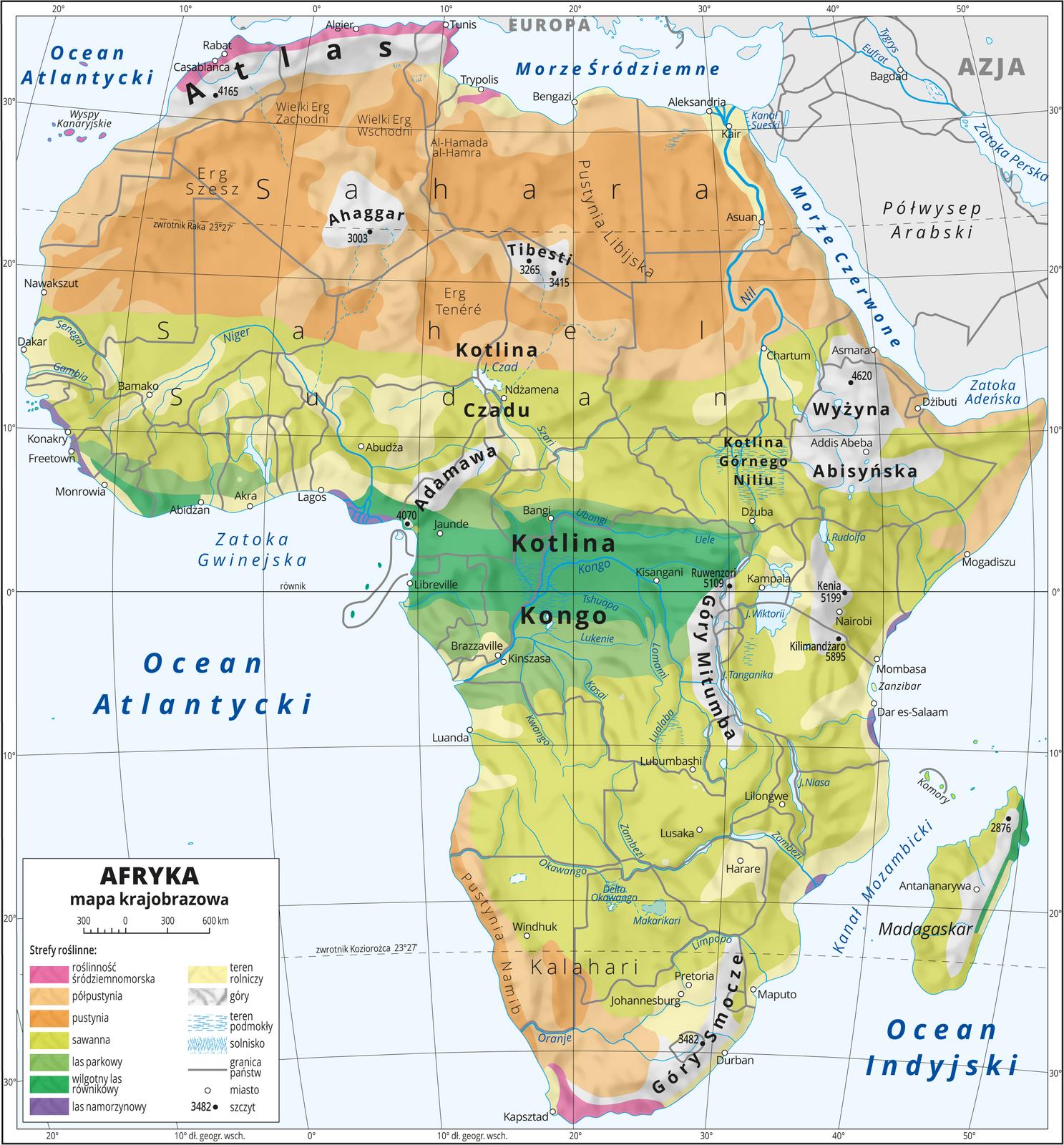 Ilustracja przedstawia mapę krajobrazową Afryki. Na mapie uwzględniono następujące strefy roślinne: roślinność śródziemnomorska, półpustynia, pustynia, sawanna, las parkowy, wilgotny las, równikowy, las namorzynowy. Strefy roślinności układają się pasami, wzdłuż równika – las równikowy wKotlinie Kongo, dalej na północ ipołudnie: lasy parkowe, sawanny, półpustynie ipustynie. Góry oznaczone kolorem szarym, obszary rolnicze – kolorem żółtym (głównie wzdłuż rzek). Morza niebieskie. Na mapie opisano nazwy nizin, wyżyn ipasm górskich, mórz, zatok, rzek ijezior. Oznaczono iopisano główne miasta. Oznaczono czarnymi kropkami iopisano szczyty górskie. Mapa pokryta jest równoleżnikami ipołudnikami. Dookoła mapy wbiałej ramce opisano współrzędne geograficzne co dziesięć stopni. Wlegendzie umieszczono iopisano znaki użyte na mapie.