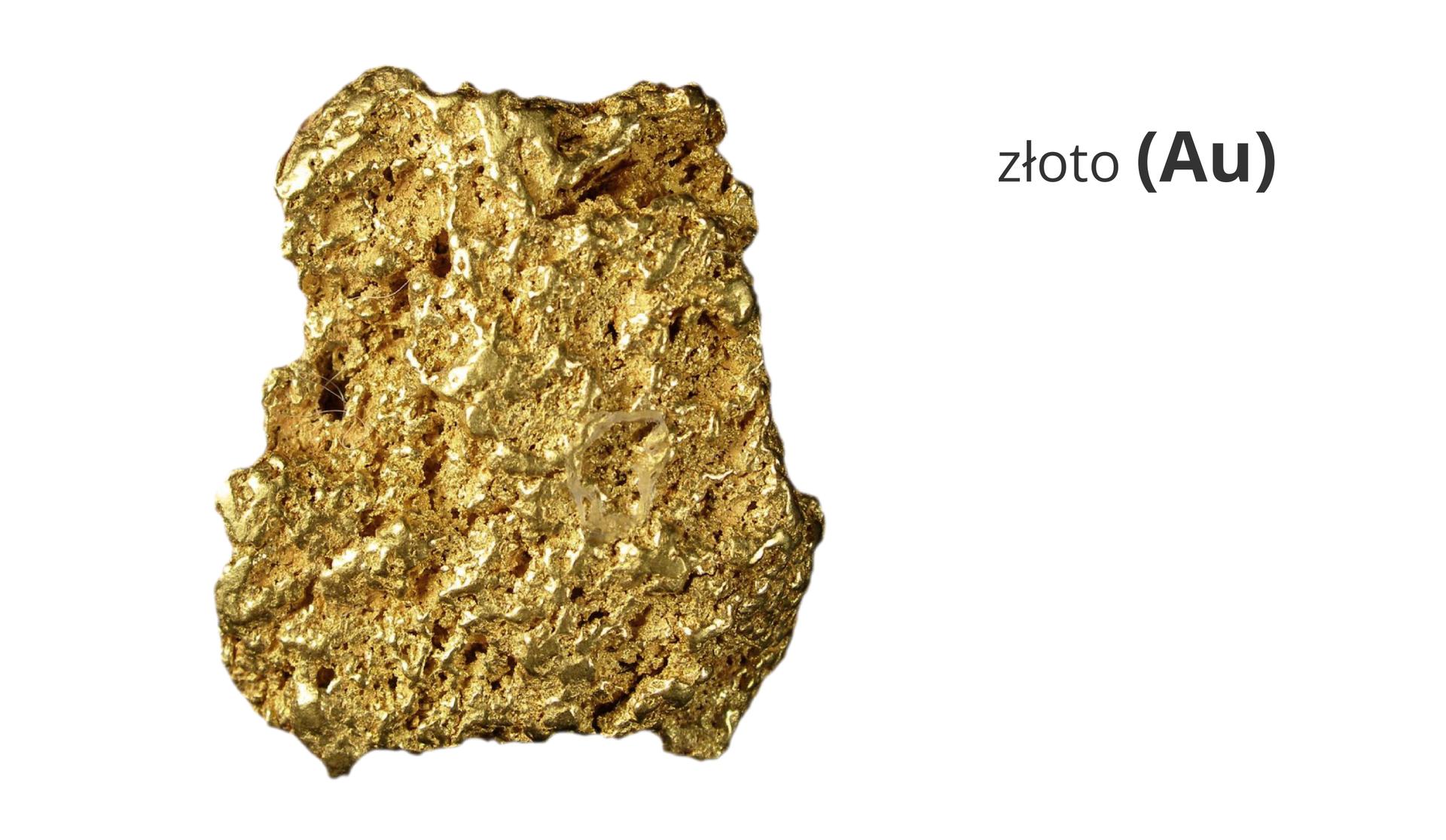 Zdjęcie przedstawia złoty samorodek. Obok widnieje napis złoto ijego symbol Au.