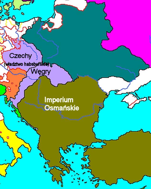 Mapa Europy - ok. 1530 r. - wycinek Na mapie Europy zlat trzydziestych XVI wieku - czyli jeszcze wtrakcie wojny austriacko-tureckiej - widać jaką część Węgier zajęło Imperium Osmańskie. Źródło: Mapa Europy - ok. 1530 r. - wycinek, domena publiczna.
