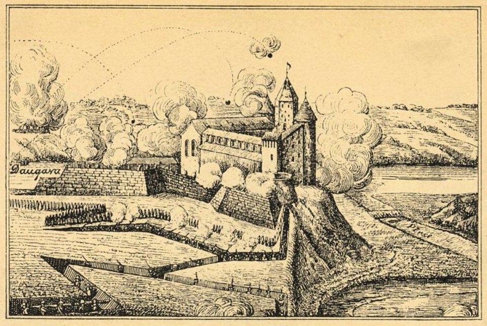 """Zamek Kokenhauzen, (w:) Johann Liten, Życiorys króla szwedzkiego Karola XII Wtrakcie ofensywy szwedzkiej zdobyte zostało ufortyfikowane miasto Kokenhauzen (obecnie Koknese, Łotwa). Polska załoga broniła się jeszcze na zamku. 23 czerwca 1601 roku doszło do bitwy między idącymi na odsiecz wojskami polsko-litewskimi, dowodzonymi przez hetmana wielkiego litewskiego Krzysztofa Radziwiłła (zwanego """"Piorunem""""), aszwedzkimi posiłkami, prowadzonymi przez marszałka polnego Carla Carlssona Gyllenhielma. Decydujące znaczenie miało uderzenie husarii na skrzydła armii szwedzkiej, wcentrum zaś dobrze spisała się polska artyleria. Tego samego dnia skapitulowały oddziały szwedzkie wmieście. Źródło: Zamek Kokenhauzen, (w:) Johann Liten, Życiorys króla szwedzkiego Karola XII, wrzesień 1700, cynkografia, Łotewska Biblioteka Narodowa, domena publiczna."""