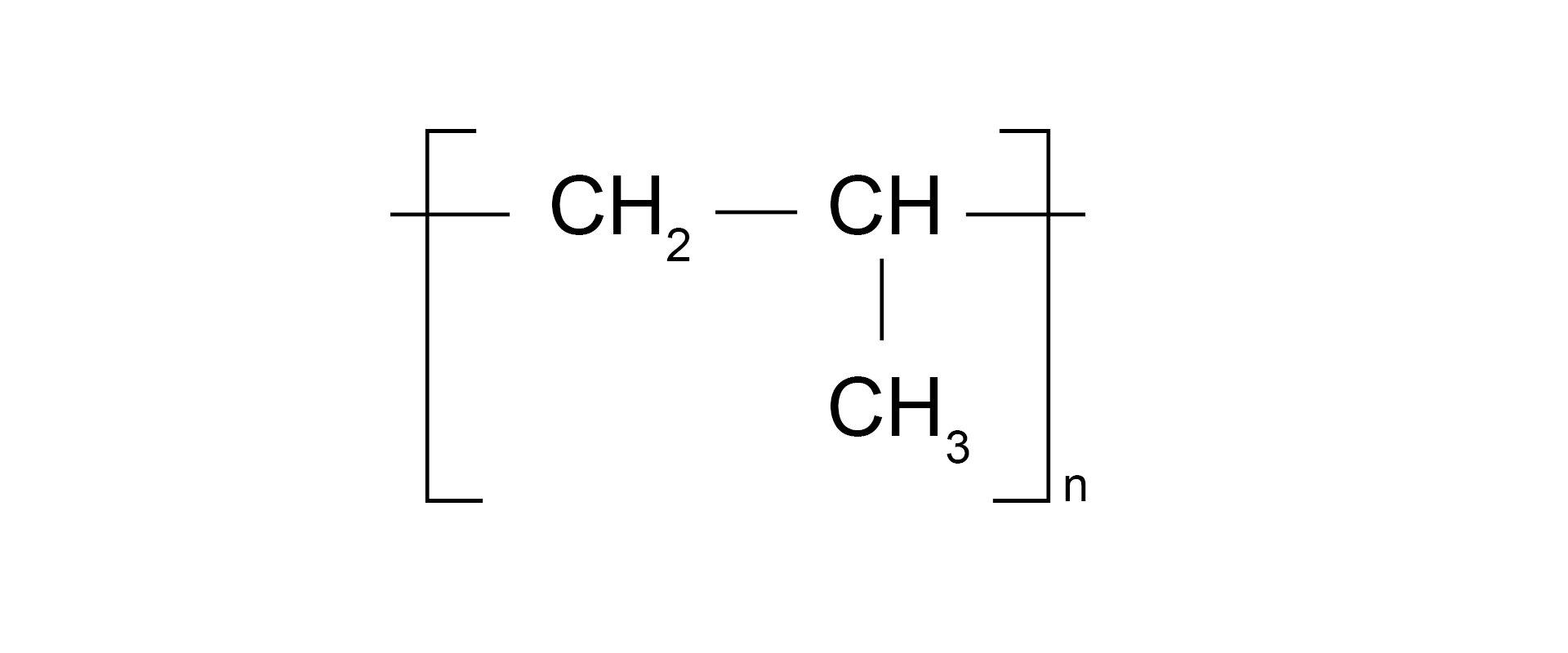 Ilustracja pokazuje wzór sumaryczny polipropylenu.