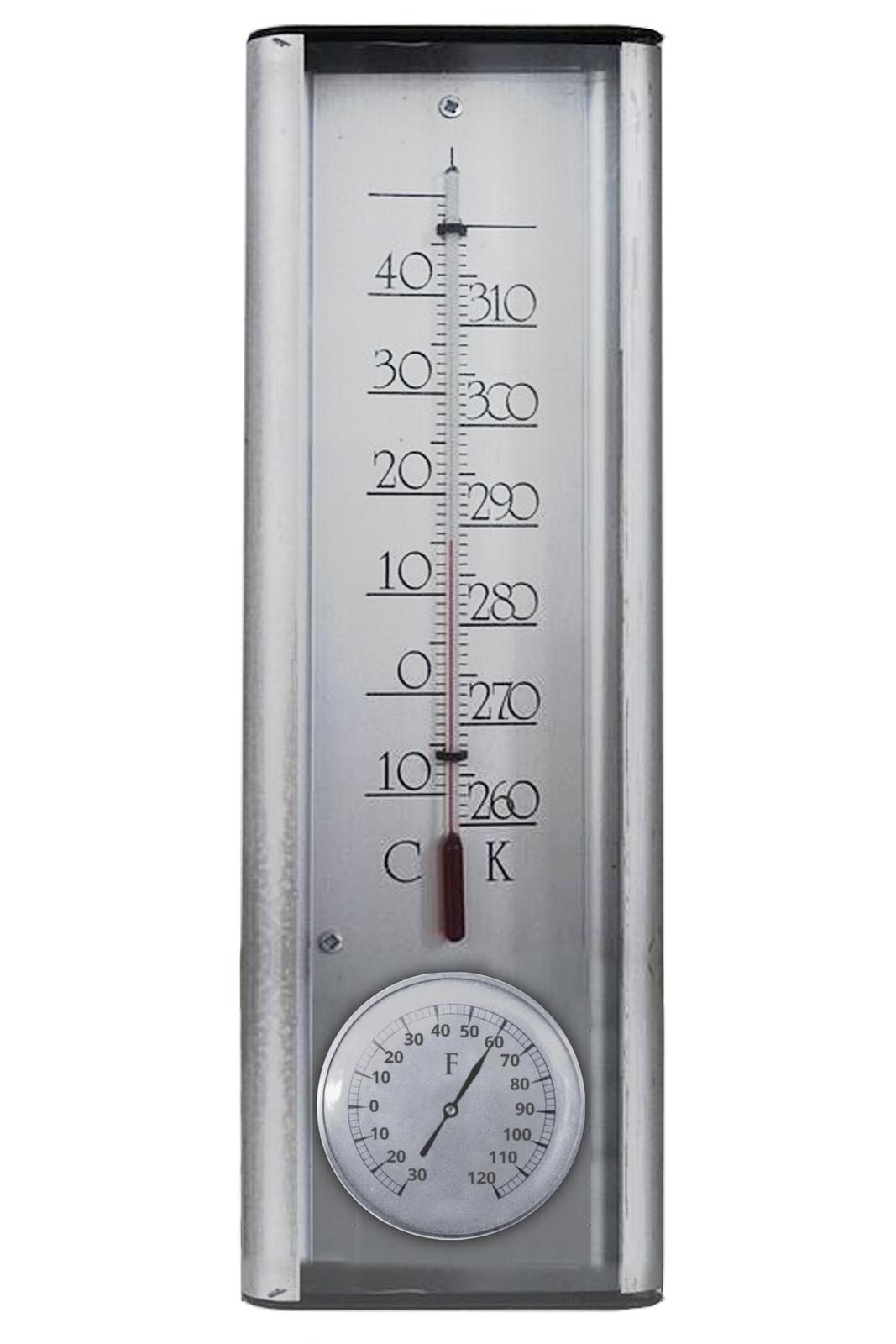 Fotografia przedstawia termometr cieczowy ztrzema skalami temperatur: Celsjusza, Fahrenheita iKelvina.